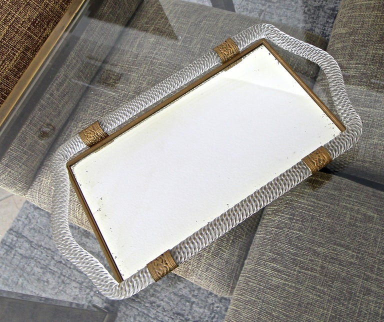 Murano Venetian glass mirrored vanity tray surmounted by twisted blown glass with finely detailed embossed brass straps and edging. Similar tray available under separate lisitng.