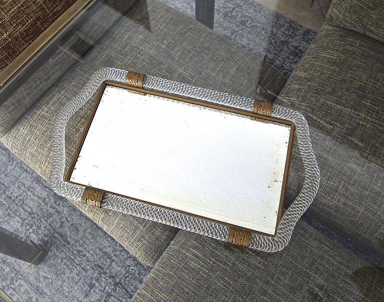 Murano Twisted Rope Glass Vanity Tray In Good Condition For Sale In Palm Springs, CA