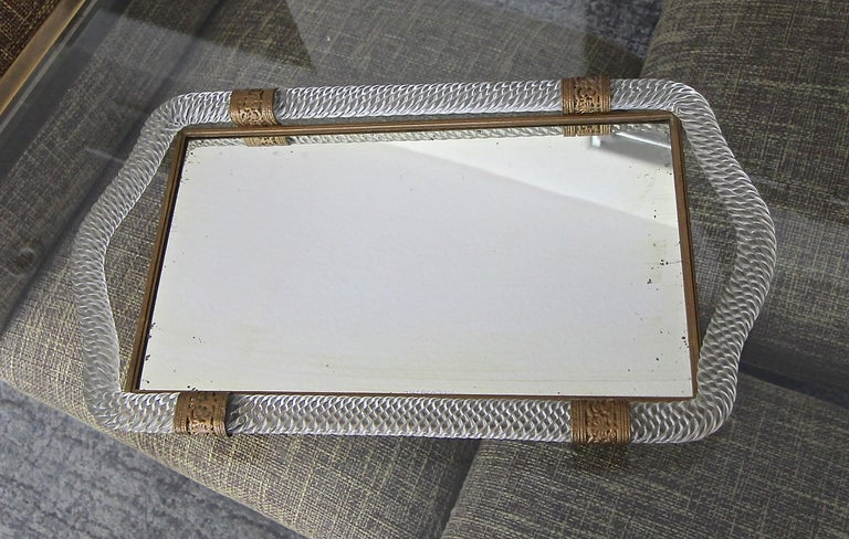 Mid-20th Century Murano Twisted Rope Glass Vanity Tray For Sale