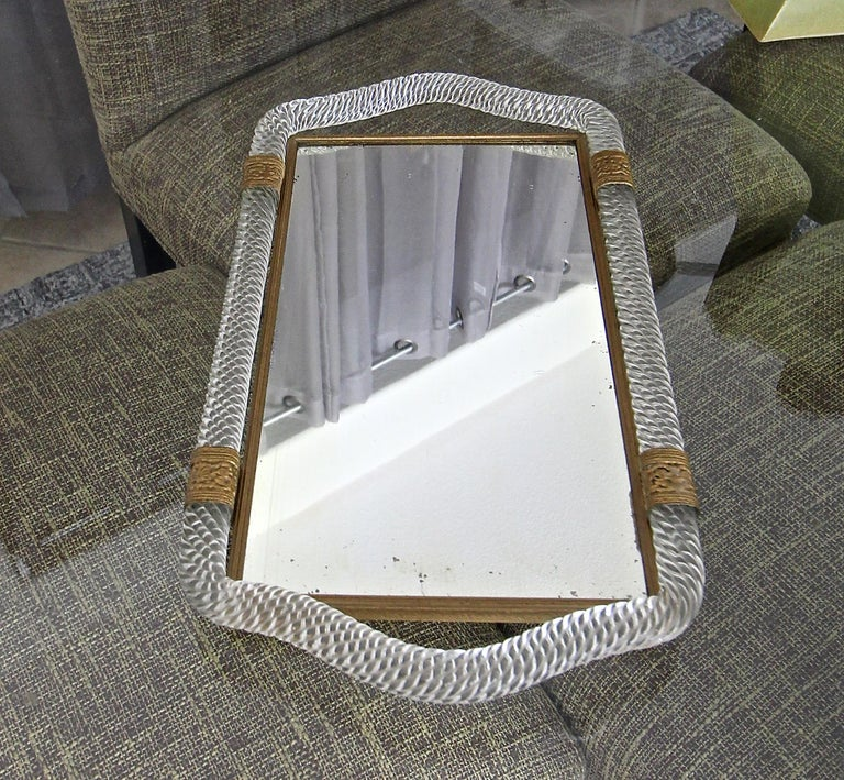 Brass Murano Twisted Rope Glass Vanity Tray For Sale