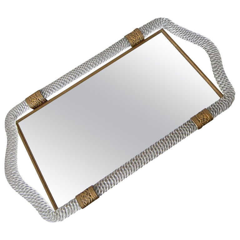 Murano Twisted Rope Glass Vanity Tray For Sale
