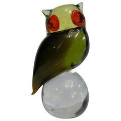 Murano Uranium Art Glass Green Yellow Red Owl Bird Sculpture