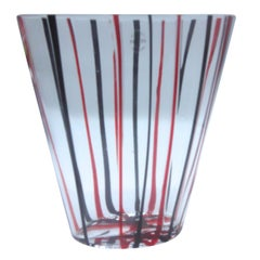Murano V Nason Vase with Striped Inclusion, Labelled and Boxed from 1999