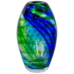 Murano Vase in Clear Cased Glass with Blue and Green