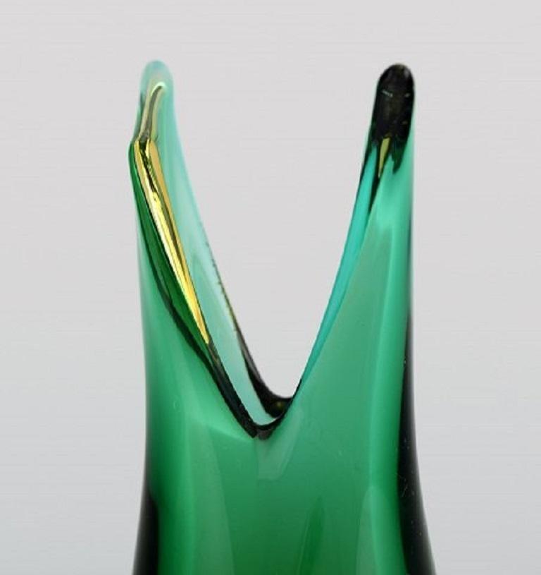 Mid-20th Century Murano Vase in Mouth Blown Art Glass, Italian Design, 1960s For Sale