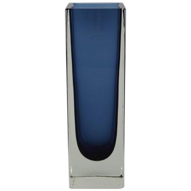 Murano Vase in Mouth-Blown Art Glass, Italian Design, 1960s For Sale