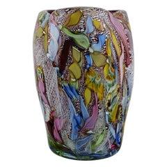 Murano Vase in Polychrome Mouth-Blown Art Glass, Italian Design, 1960s-1970s