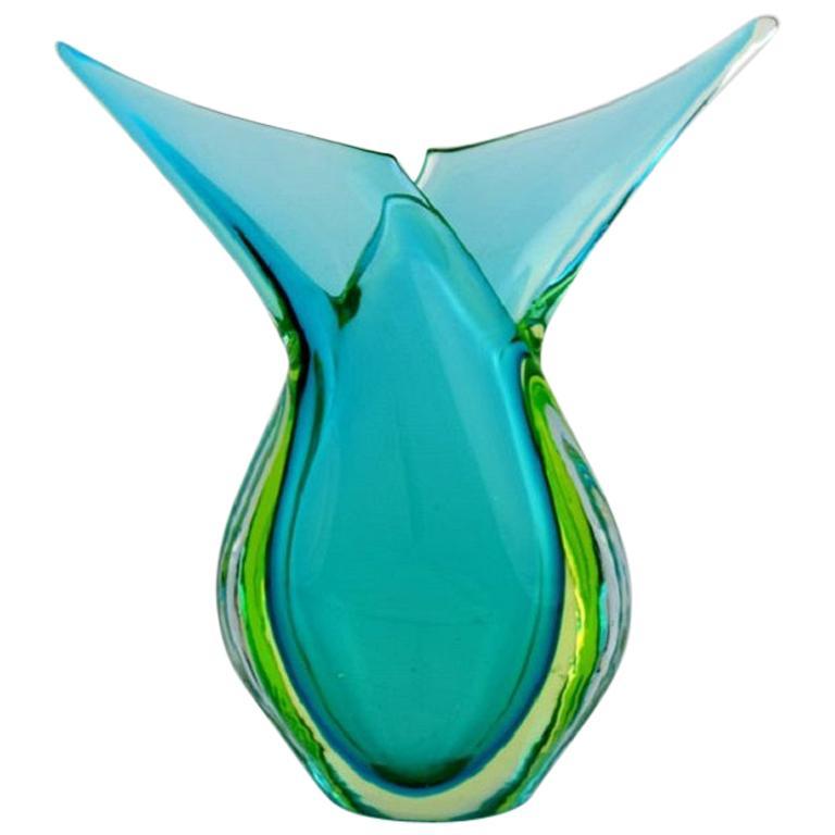 Murano Vase in Turquoise Mouth Blown Art Glass, Italian Design, 1960s