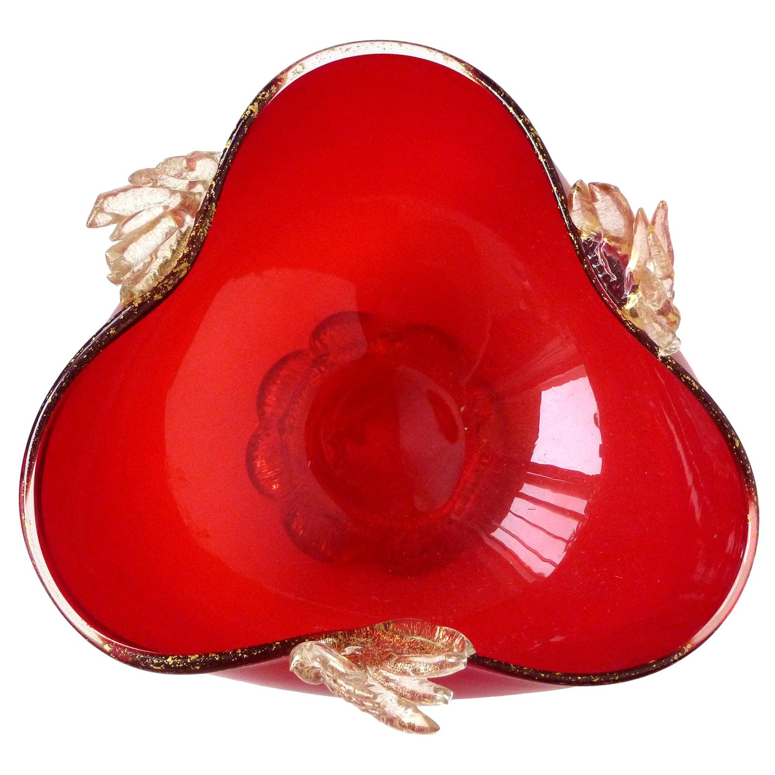 Murano Venetian Bright Red Applied Gold Leafs Italian Art Glass Footed Bowl Dish