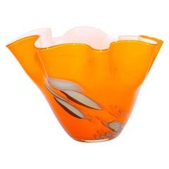 Murano Venetian Fulvio Bianconi Vase Orange Freeform Handkerchief