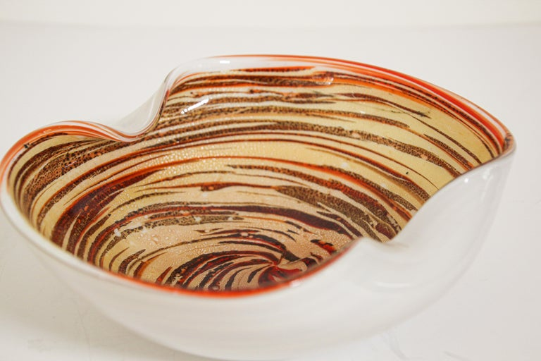 Murano Venetian Hand Blown Art Glass Ashtray by Alfredo Barbini For Sale 8