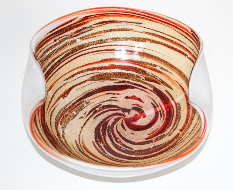 Hand-Crafted Murano Venetian Hand Blown Art Glass Ashtray by Alfredo Barbini For Sale