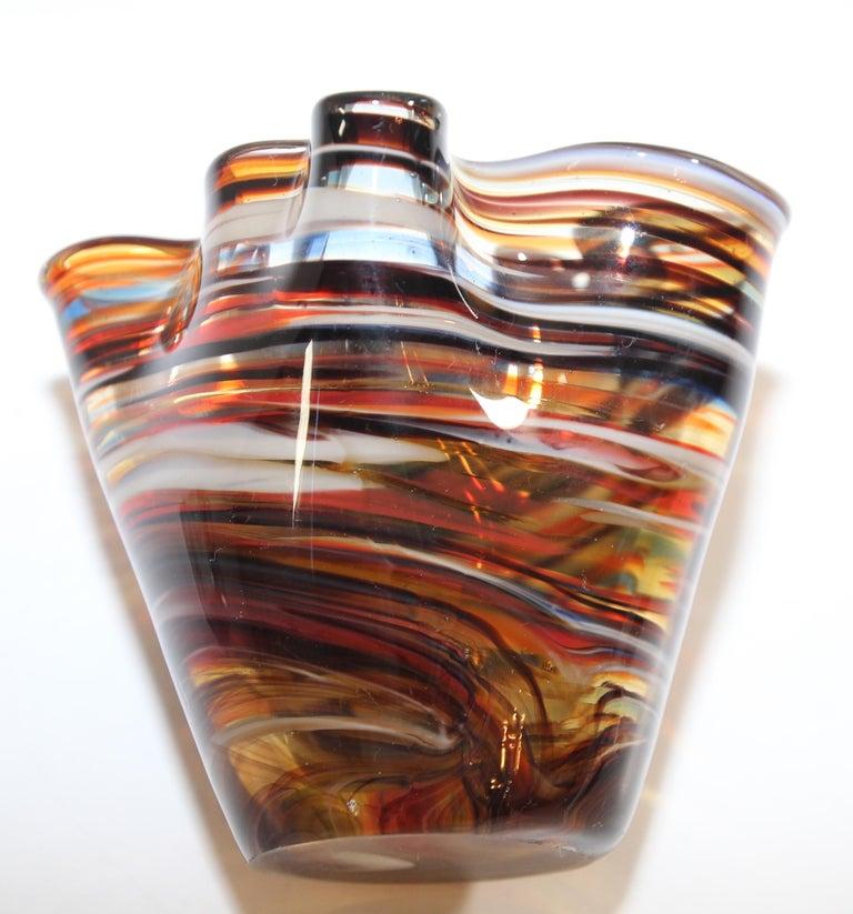 Murano Venetian Hand Blown Art Glass Vase For Sale 2