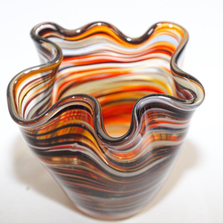 Murano Venetian Hand Blown Art Glass Vase For Sale 4