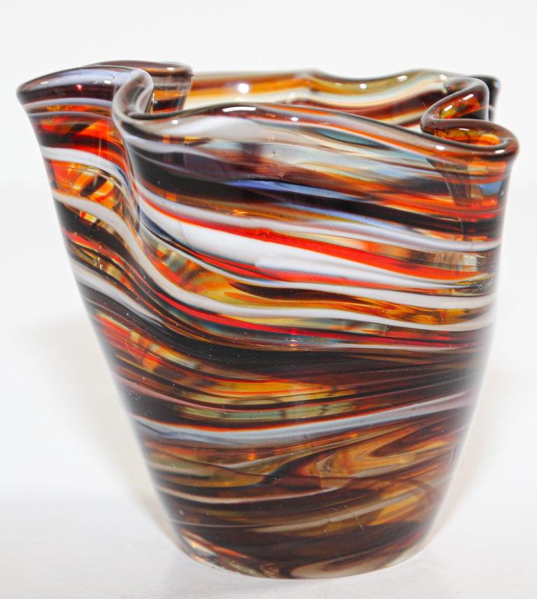 Italian Murano Venetian Hand Blown Art Glass Vase For Sale