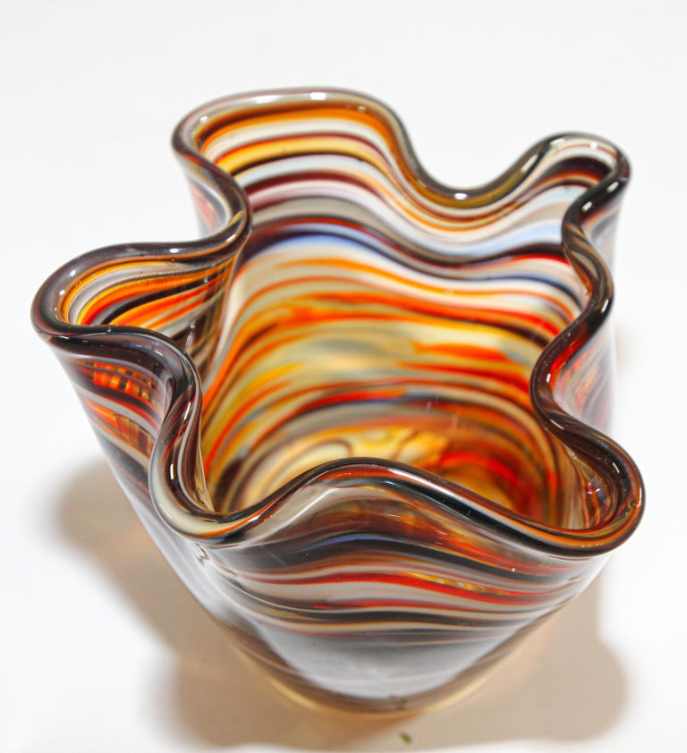 Hand-Crafted Murano Venetian Hand Blown Art Glass Vase For Sale