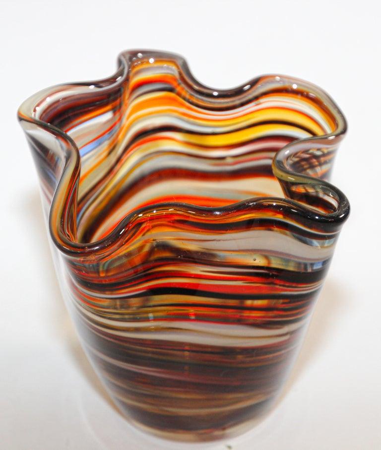 20th Century Murano Venetian Hand Blown Art Glass Vase For Sale