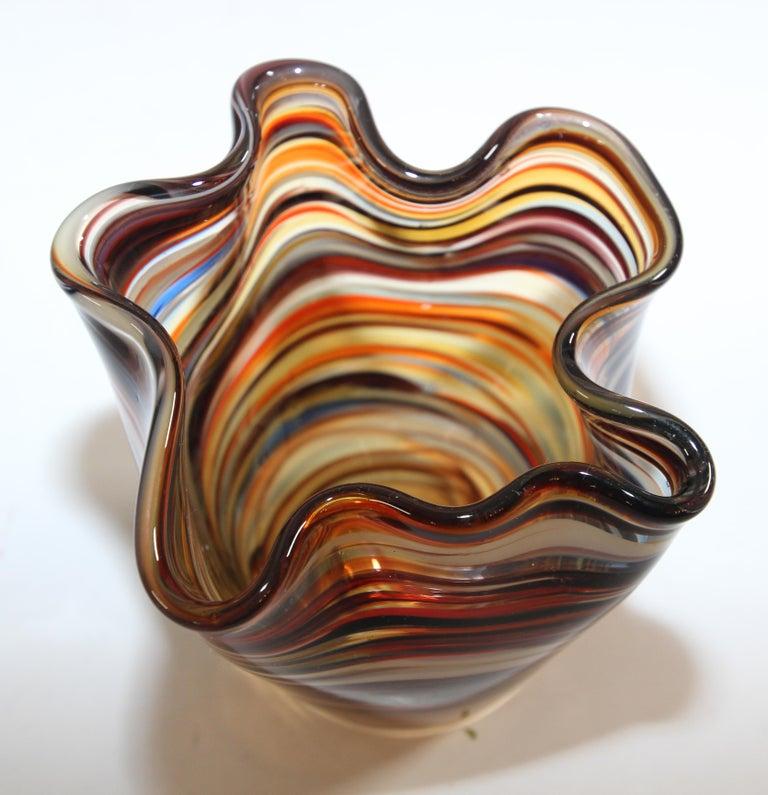 Murano Venetian Hand Blown Art Glass Vase For Sale 1