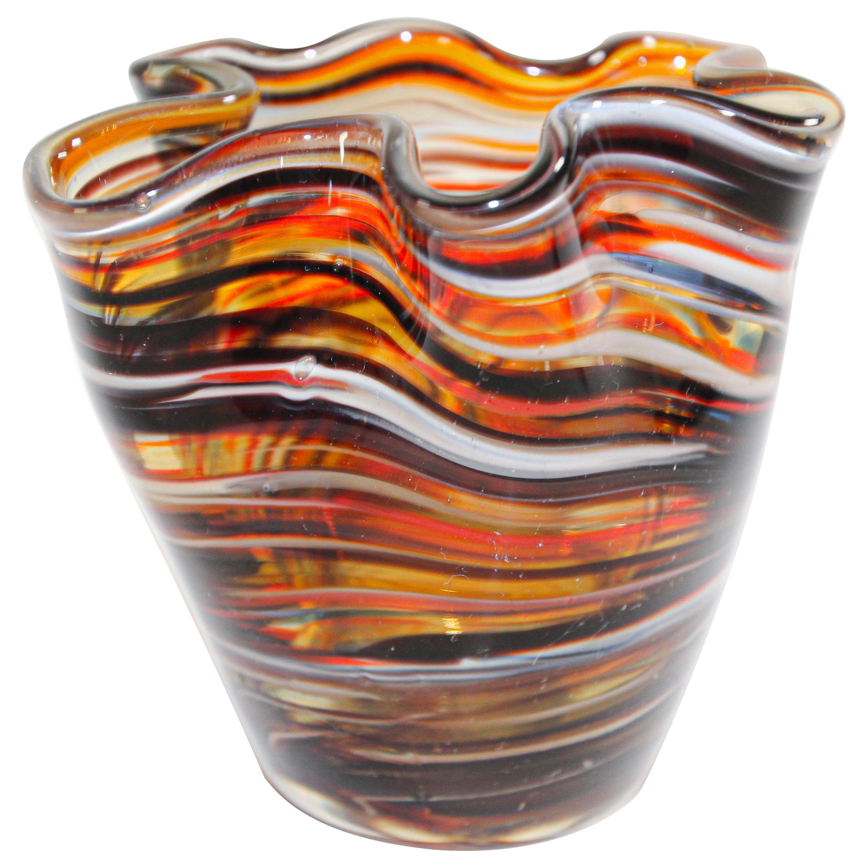 Murano Venetian Hand Blown Art Glass Vase