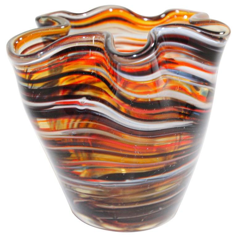 Murano Venetian Hand Blown Art Glass Vase For Sale