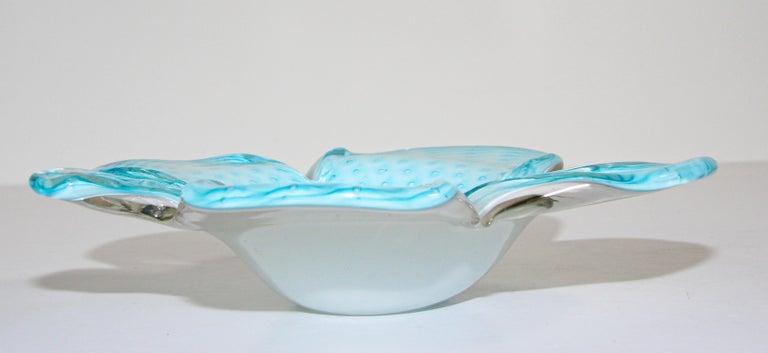 Mid-Century Modern Murano Venetian Hand Blown Turquoise Art Glass For Sale