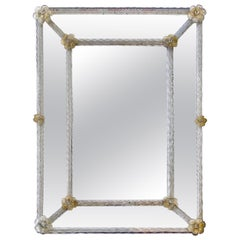 Murano Venetian Opalescent Twisted Rod Floral Wall Mirror