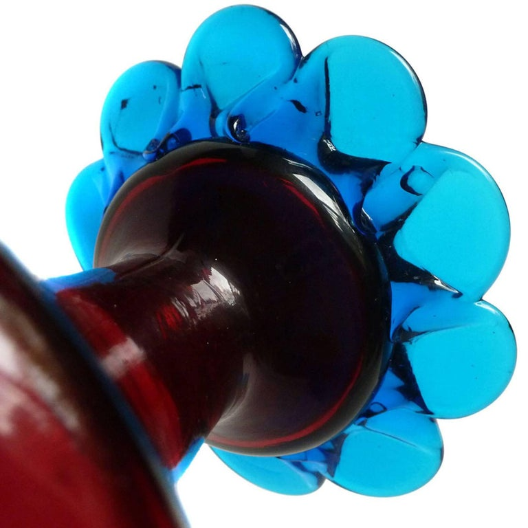 Murano Venetian Red and Blue Ornate Handles Italian Art Glass Flower Vase In Good Condition For Sale In Kissimmee, FL