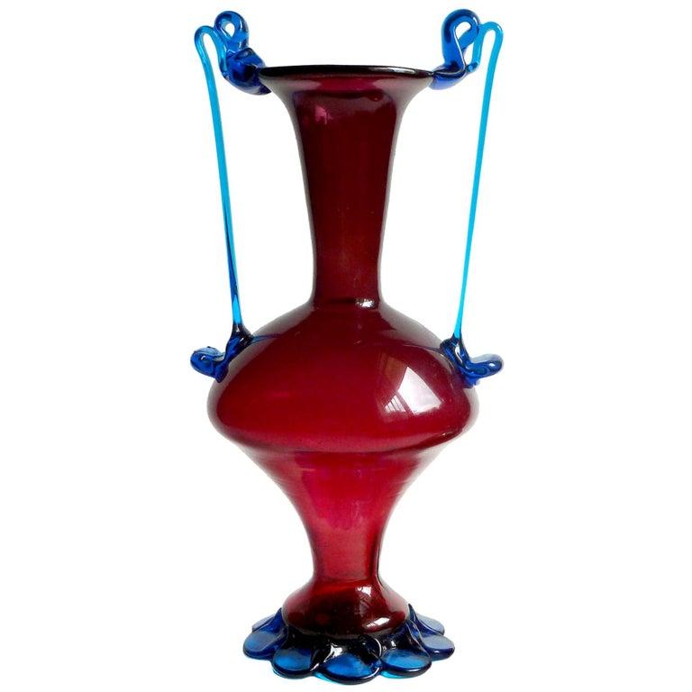 Murano Venetian Red and Blue Ornate Handles Italian Art Glass Flower Vase For Sale