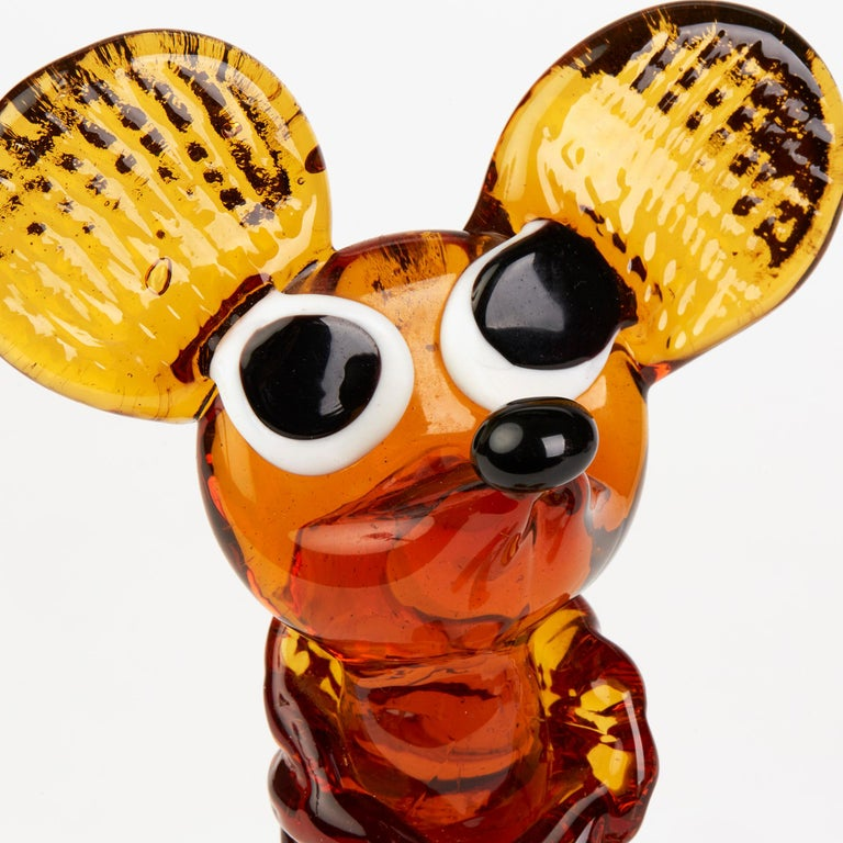 Mid-Century Modern Murano Venetian Vintage Glass Mouse Figure, 1950s-1960s For Sale
