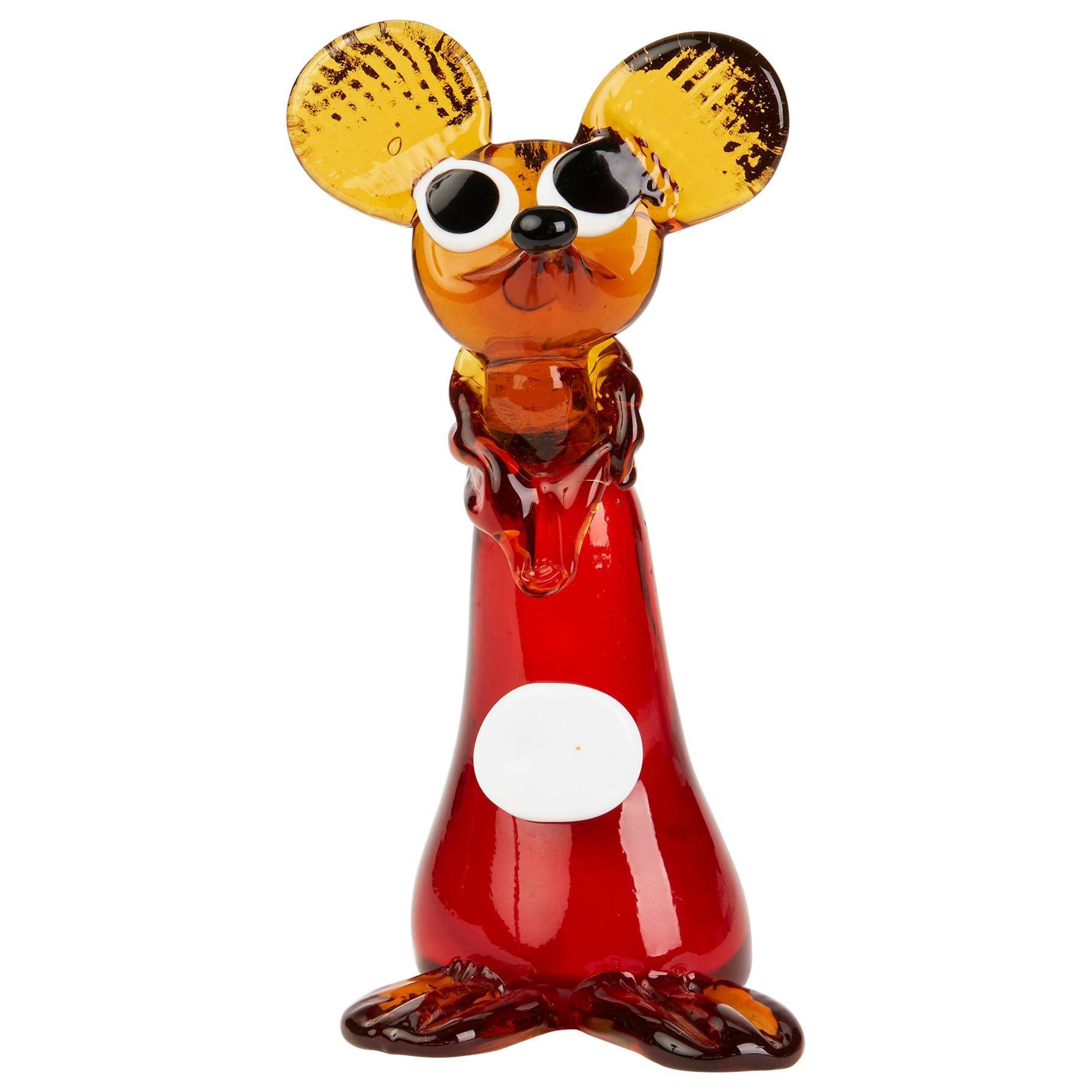 Murano Venetian Vintage Glass Mouse Figure, 1950s-1960s