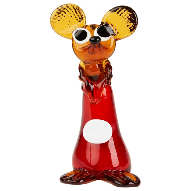 Murano Venetian Vintage Glass Mouse Figure, 1950s-1960s For Sale