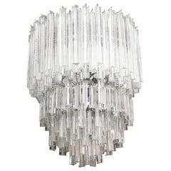 Murano Venini Cascading Glass Prism Chandelier Vintage