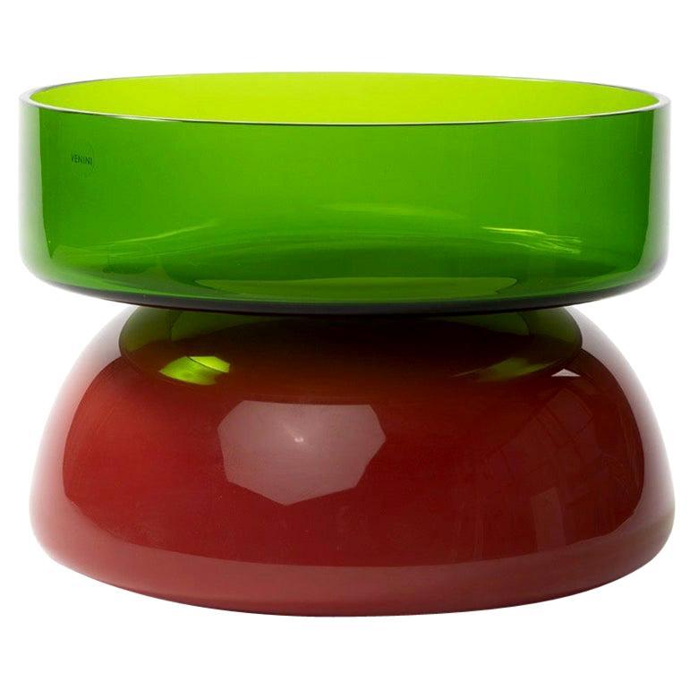 "Murano, Venini ""Puzzle"" Mouth Blown Glass Centerpiece by Ettore Sottsass"