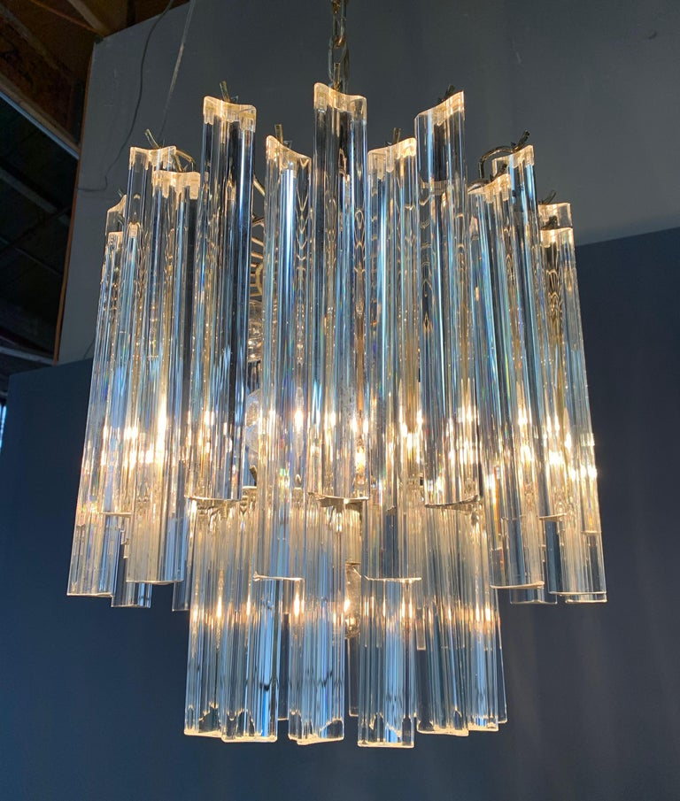 Mid-Century Modern Murano Venini Trilobi Crystal Chandelier by Murano, 1960, Midcentury For Sale