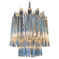 Murano Venini Trilobi Crystal Chandelier by Murano, 1960, Midcentury