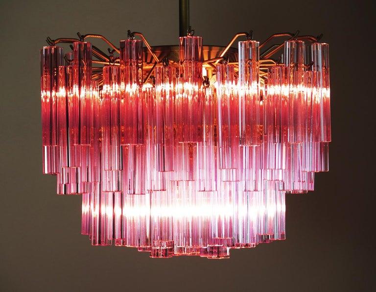 Murano Vintage Chandelier, 107 Pink Quadriedri, Gold Frame For Sale 3