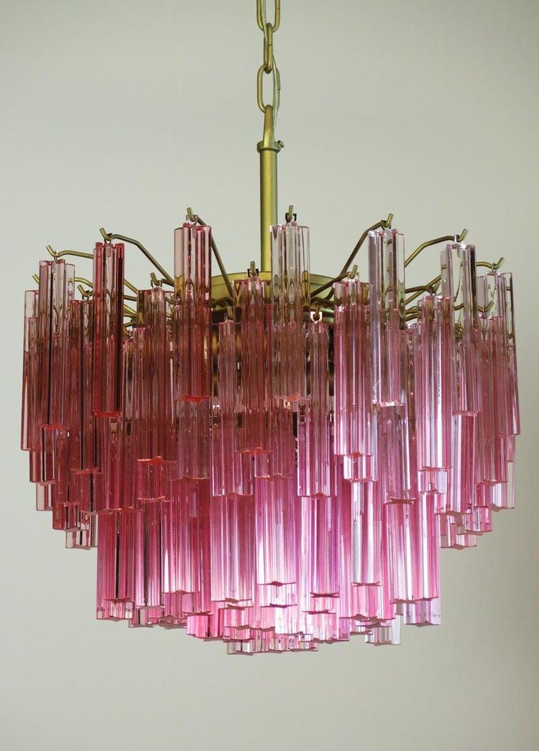 Italian Murano Vintage Chandelier, 107 Pink Quadriedri, Gold Frame For Sale