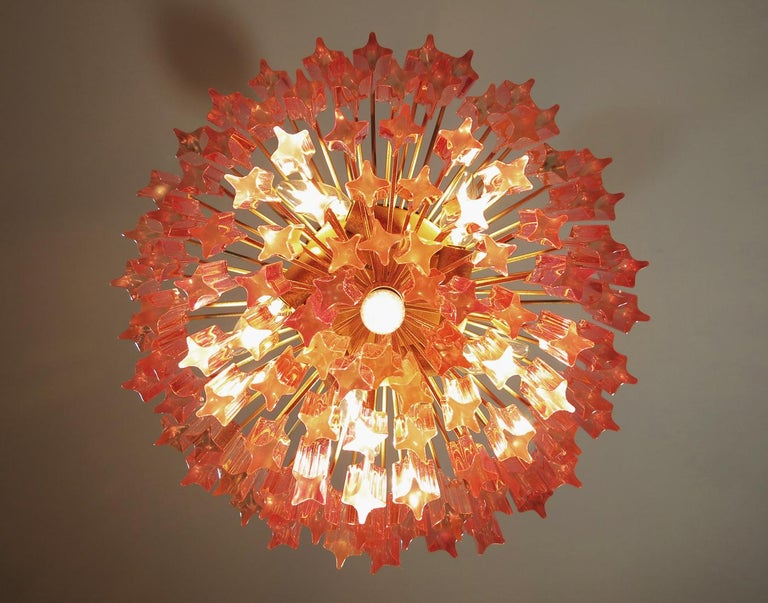 Late 20th Century Murano Vintage Chandelier, 107 Pink Quadriedri, Gold Frame For Sale