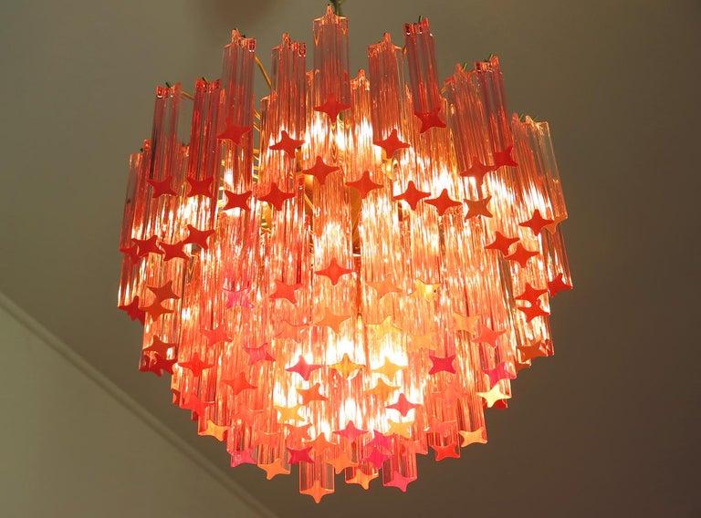 Blown Glass Murano Vintage Chandelier, 107 Pink Quadriedri, Gold Frame For Sale