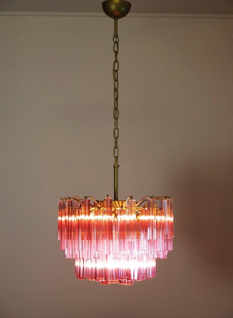 Murano Vintage Chandelier, 107 Pink Quadriedri, Gold Frame For Sale 1