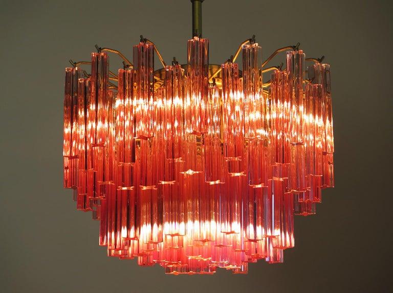 Murano Vintage Chandelier, 107 Pink Quadriedri, Gold Frame For Sale 2