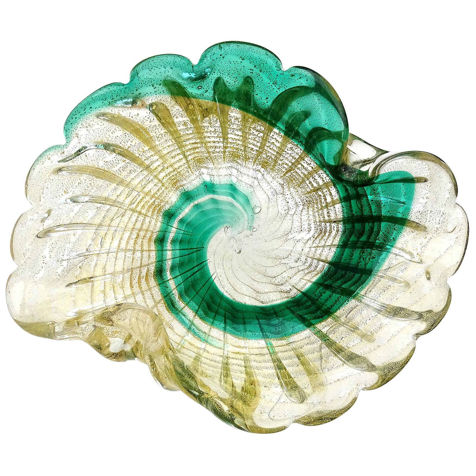Murano Vintage Green Swirl Paint Stroke Gold Flecks Italian Art Glass Bowl Dish