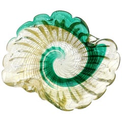 Murano Vintage Green Swirl Paint Stroke Gold Flecks Italian Art Glass Bowl Dish