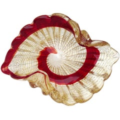 Murano Vintage Red Swirl Paint Stroke Gold Flecks Italian Art Glass Bowl Dish