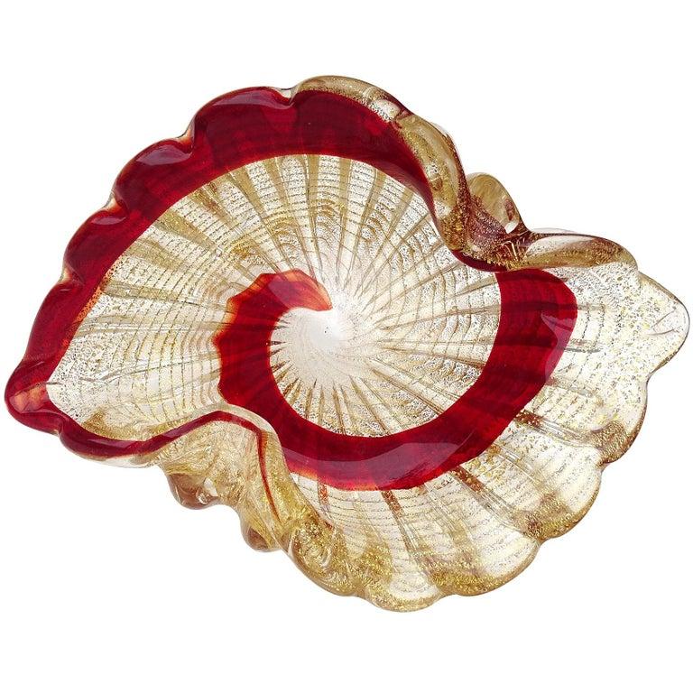 Murano Vintage Red Swirl Paint Stroke Gold Flecks Italian Art Glass Bowl Dish For Sale