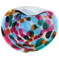 Murano Vintage White Blue Pink Orange Spots Italian Art Glass Bowl Vide Poche