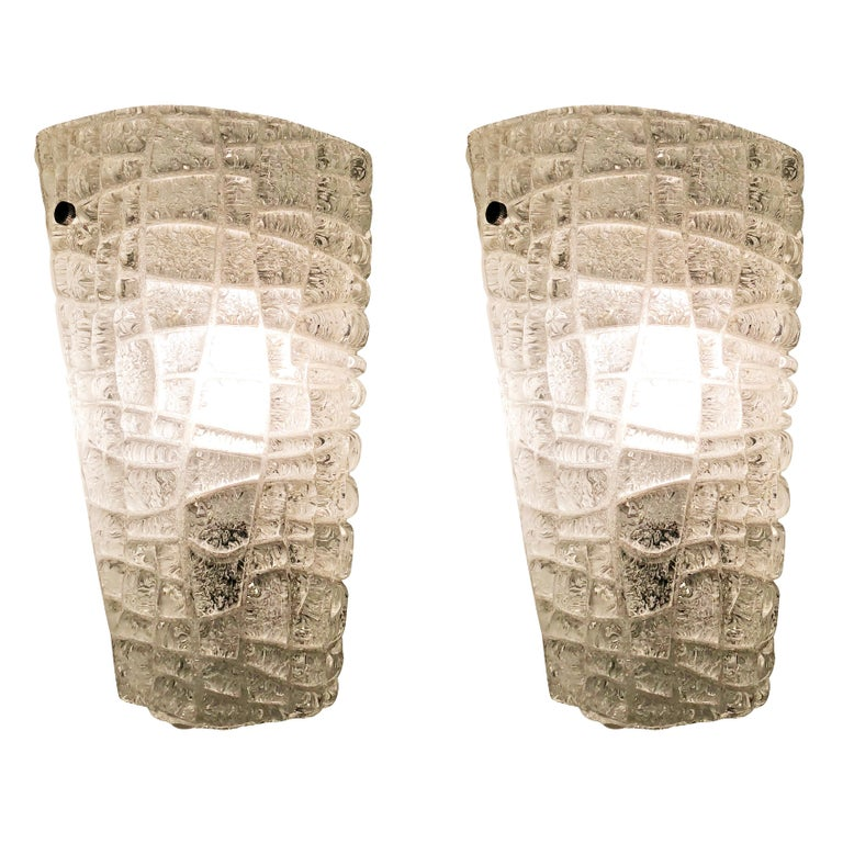 Italian Murano Wall Lights with Textured Glass, Italy, 1960s For Sale