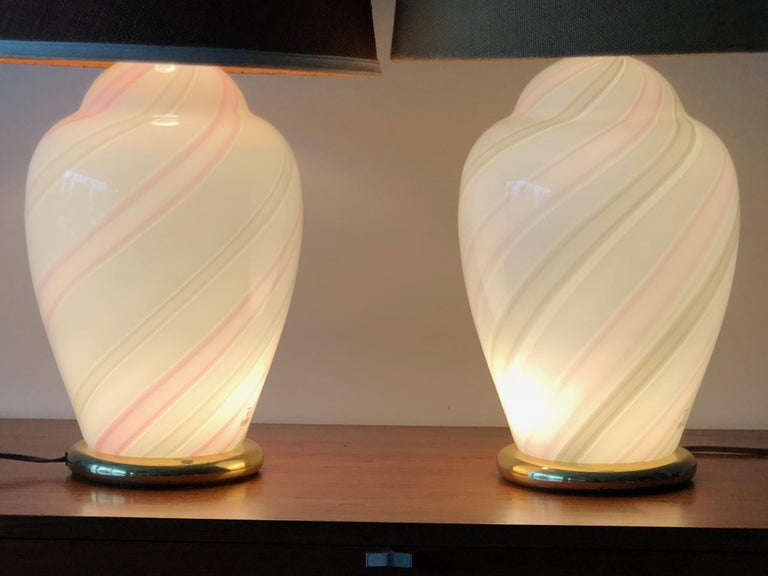Modern Murano White and Pink Striped Glass Lamps For Sale
