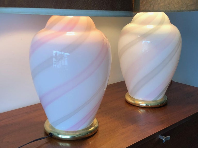 Murano White and Pink Striped Glass Lamps For Sale 2