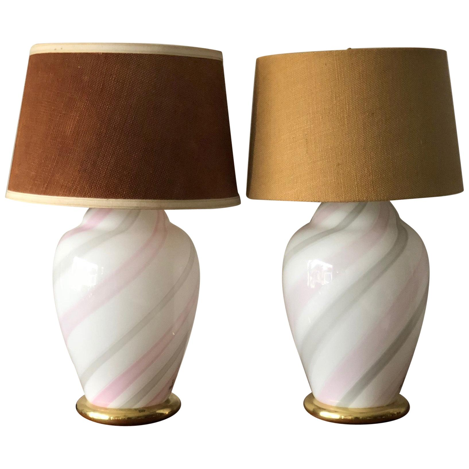 Murano White and Pink Striped Glass Lamps